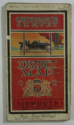 1913 Old OS Ordnance Survey One-Inch Third Edition Map Sidmouth Exmouth District