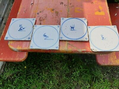 Vintage French old ceramic set of 4 tiles