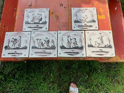 Vintage French old ceramic set of 6 tiles