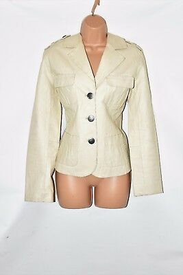 Ivory Real Leather ROCKING GIRLS Hips Length Button Women's Coat Jacket Size L