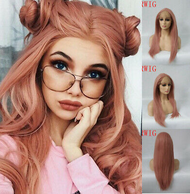 """AU 24"""" Synthetic Hair Natural Straight Cosplay Smoke Pink Lace Front Wig"""