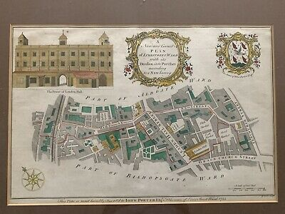 Antique Map of London Lime Street Colour Copperplate Engraving 1754 B. Cole