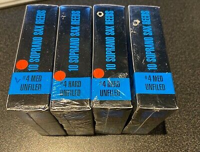 7 boxes of 10 old stock Rico Jazz Select unfiled, soprano sax reeds