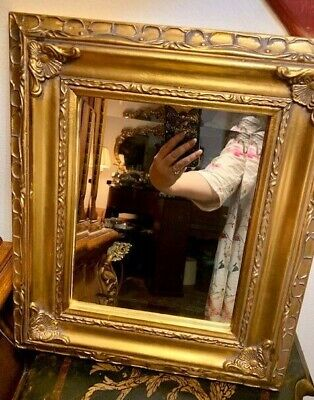 """Vintage Mirror With Ornate Gold Frame Style Rococo 15"""" x 13"""""""