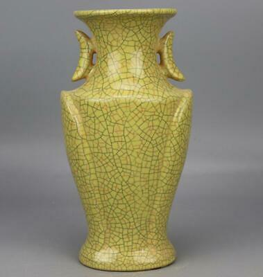 chinese old handmade Yellow glaze porcelain Two ears bottle 04233