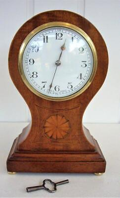 Antique French Marquetry Balloon Mantel Clock - Working Well