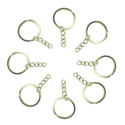 100x Stainless Steel Split Ring Holder Keychain Key Ring Blank Hoop Short Chain