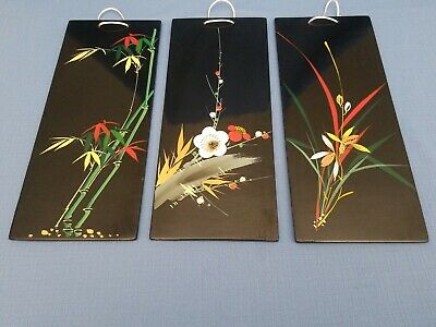 Set of 3 Black Lacquer Oriental Asian Wall Plaque Picture Art Decor Hand Painted