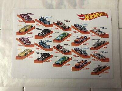 Hot Wheels 1 Sheet of 20 Forever USPS First Class one Ounce Postage Stamps