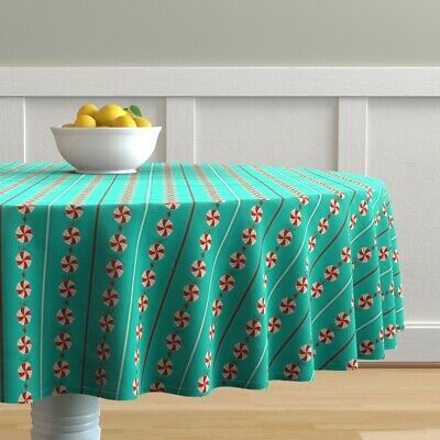 Round Tablecloth Holiday Christmas Sweets Garland Candy Candies Cotton Sateen