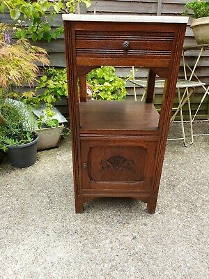 Beautiful Antique French Vintage Art Deco Marble Topped Solid Oak Pot Cupboard