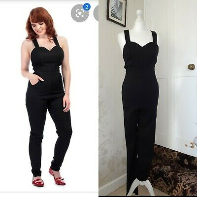 Collectif Vintage Olivia Black Plain Jumpsuit Size 10