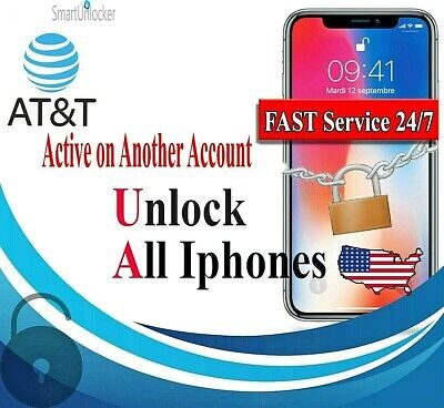 AT&T USA iPhone UNLOCK Service for Active On Another Account Xs/Xr/XsMax 90%
