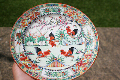 20th Century Antique Chinese Porcelain Hand Painted Rooster Chicken Plate -Marks