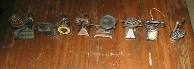 MIXED LOT OF 8 VINTAGE DIE CAST PENCIL SHARPENERS- Clock,Iron,Phone,Scale,Etc.