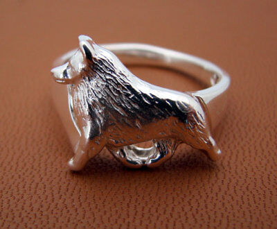 Sterling Silver Schipperke Moving Study Ring