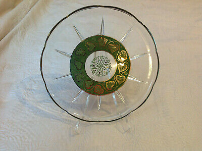 Culver Glass MCM Serving Barware Plate Tray Hearts in  22K Gold + Green