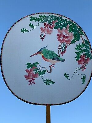 Antique Silk Screen Hand Painted CHINESE BIRD Folk Art Fan Bamboo Handle ❤️sj3j