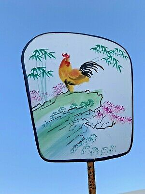 Antique Silk Screen Hand Painted CHINESE ROOSTER Folk Art Fan Bamboo Hand ❤️sj3j