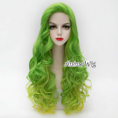 75CM Long Green Mixed Yellow Curly Lolita Cosplay Heat Resistant Wig