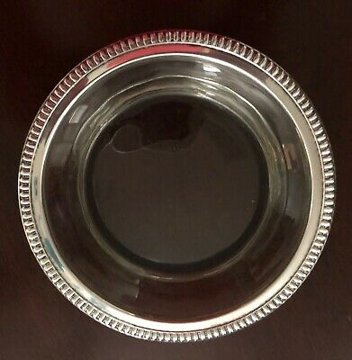 Wallace Vintage Solid Sterling Silver Rimmed heavy Wine Bottle Coaster 5""