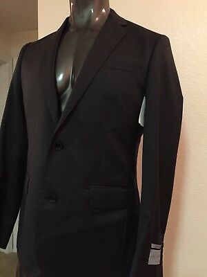 John W Nordstrom Check Wool Suit Jacket Blazer 42L Charcoal Grey Italy $499