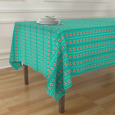 Tablecloth Holiday Christmas Sweets Garland Candy Candies Strings Cotton Sateen