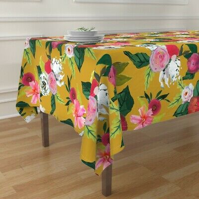 Tablecloth Mustard Yellow White Roses Floral Autumn Flowers Fall Cotton Sateen