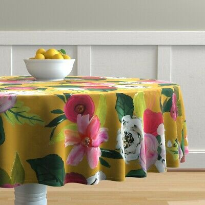 Round Tablecloth Mustard Yellow White Roses Floral Autumn Flowers Cotton Sateen