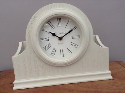 NEW NEXT Vintage Style Cream Wooden Wood Letter Rack Mantle Clock RRP £28 HOME