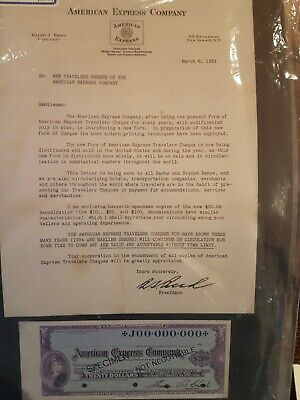 American Express Specimen Bankers Cheque With Letter