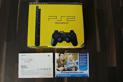 Sony Playstation 2 PS 2 Slim schwarz SCPH-77004 OVP + Anleitung (ohne Konsole)