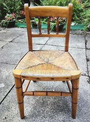 Antique Rush Seated Oak Child's Chair