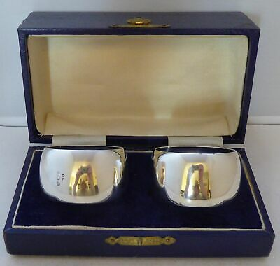 Boxed Pair 1942 Hallmarked Solid Silver Napkin Rings Serviette Ring