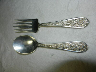Antique Lot Stieff Repousse Rose Sterling Silver Baby, Child's Fork & Spoon