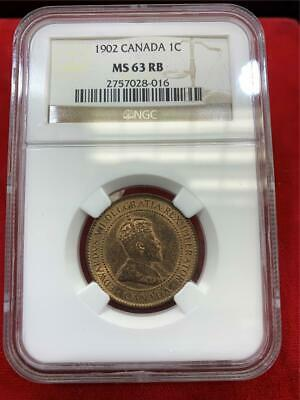 CANADA 1902 King Edward VII Large Cent NGC ms-63 RB BU Nice condition