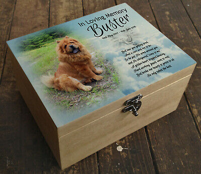 Wooden Pet Urn Dog Box Cremation Ashes Casket and headstone tile Chow Chow