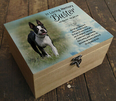 Wooden Pet Urn Dog Box Cremation Ashes Casket and headstone tile Boston Terrier