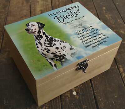 Wooden Pet Urn Dog Box Cremation Ashes Casket and headstone tile dalmatian
