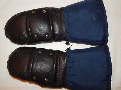 Snowmobile Mittens M L Boys Black Leather Blue Nylon VTG Sherpa Lined Taiwan