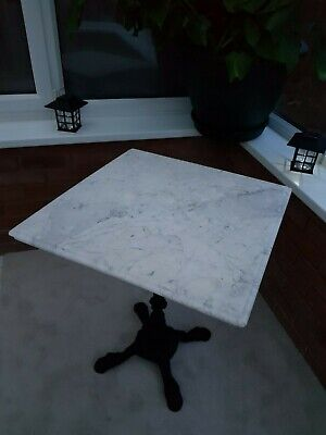 Antique Square Thick Marble Topped Table Solid Wrought Iron Base Vintage