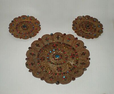 3 Antique wall plates from Burma, bronze / brass