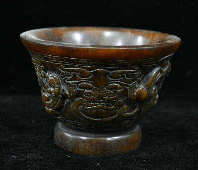 "5"" Old Chinese Ox Horn Hand-Carving Dynasty Palace Beast Face Drink Wine Cups"