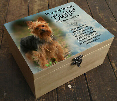 Wooden Pet Urn Dog Box Cremation Ashes Casket & headstone tile Yorkshire Terrier