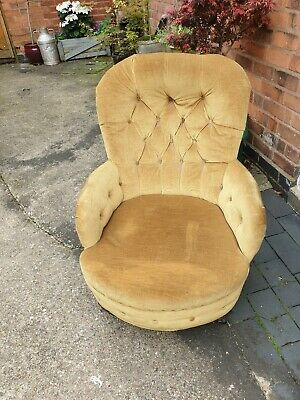 Gold antique old vintage Victorian armchair with castors can deliver