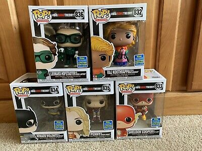 Big Bang Theory Funko Pop Set 2019 SDCC Justice League Shared Complete set