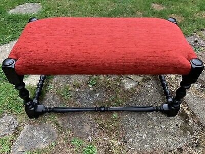 Stunning Antique 1920s Long Footstool Newly Reupholstered