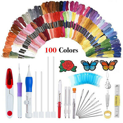 100 Color Thread + Embroidery Needle Pen Kit Set Craft Punch Magic DIY Knitting