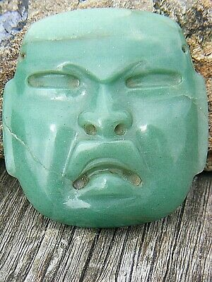 Antique Olmec Jade Mask Carved Precolumbian  Blue Green Jade Amulet