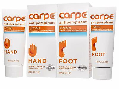 Carpe Antiperspirant Hand And Foot Lotion Package Deal (1 Hand And 1 Foot Tube -
